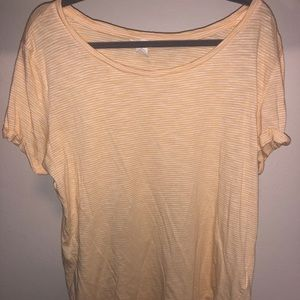 Yellow and white stripped scoop neck t-shirt